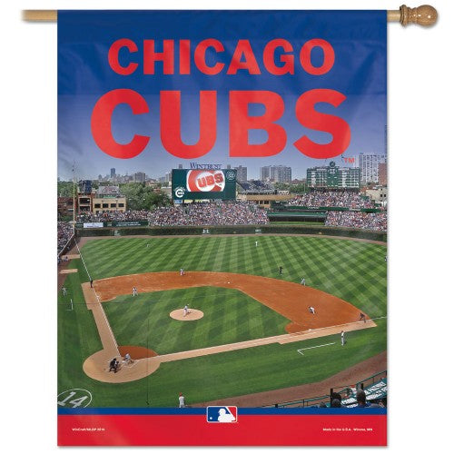 "Chicago Cubs MLB 27"" x 37"" Vertical Flag - Wrigley Field"