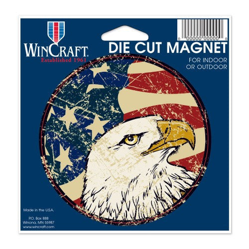 "Support America Patriotic 4"" Round Magnet - American Eagle"