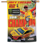 "Joey Logano 2018 NASCAR Monster Energy Series Champion 28"" x 40"" Vertical Flag"
