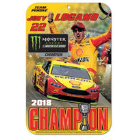 Joey Logano NASCAR 2018 Monster Energy Champion 11 x 17 Plastic Sign