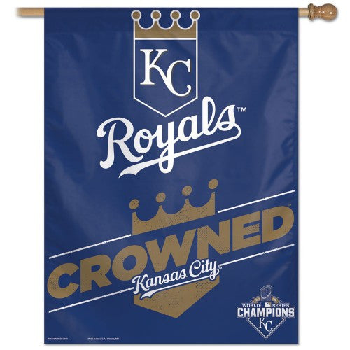 "Kansas City Royals MLB 27"" x 37"" Vertical Flag - Crowned, 2015 World Series Champions"