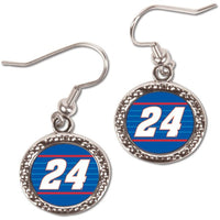 Chase Elliott #24 NASCAR Round Dangle Earrings