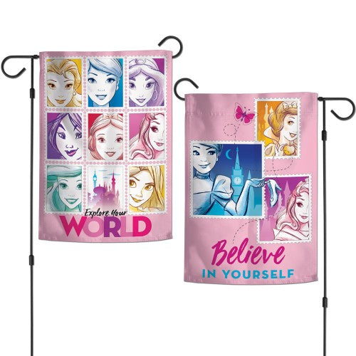 "Walt Disney Princesses 2-Sided 12"" x 18"" Garden Flag - Explore Your World"