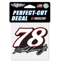 "Martin Truex Jr #78 4"" x 4"" NASCAR Perfect Cut Decal (White)"