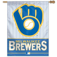 "Milwaukee Brewers MLB 27"" x 37"" Vertical Flag - Pinstripe Glove"