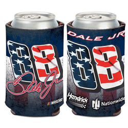 Dale Earnhardt Jr NASCAR Patriotic Can Cooler (Image Shows Front and Back View)