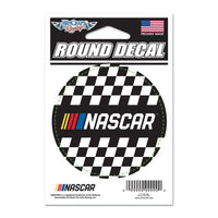 "3"" Round NASCAR Logo Checkered Decal"