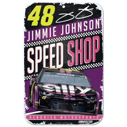 Jimmie Johnson NASCAR Speed Shop 11 x 17 Plastic Sign