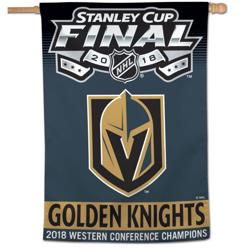 "Vegas Golden Knights NHL 28"" x 40"" Vertical Flag - 2018 Stanley Cup Western Conference Champions"