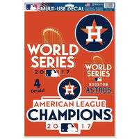"Houston Astros MLB 11"" x 17"" Decal Sheet - 4 cut-to-logo decals of assorted sizes - 2017 World Series"