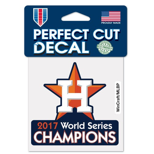 "Houston Astros MLB 4"" x 4"" Perfect Cut Decal - 2017 World Series Champions"