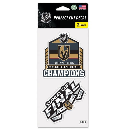 "Vegas Golden Knights NHL 4"" x 8"" Perfect Cut Decal Sheet - set of 2 designs 4"" x 4"" each - 2018 Stanley Cup Western Conference Champions"