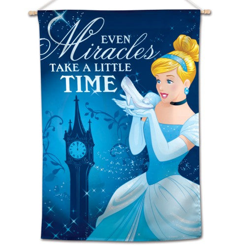"Cinderella Disney 28"" x 40"" Vertical Flag - Cinderella Glass Slipper, Even Miracles Take A Little Time"