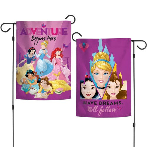 "Walt Disney Princesses 2-Sided 12"" x 18"" Garden Flag - Adventure Begins Here"