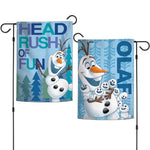 "Walt Disney Frozen 2-Sided 12"" x 18"" Garden Flag - Olaf Head Rush of Fun"