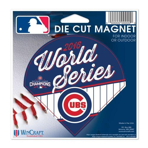 "Chicago Cubs MLB 4"" x 4"" Cut-to-Shape Magnet - 2016 World Series/NL Champions"
