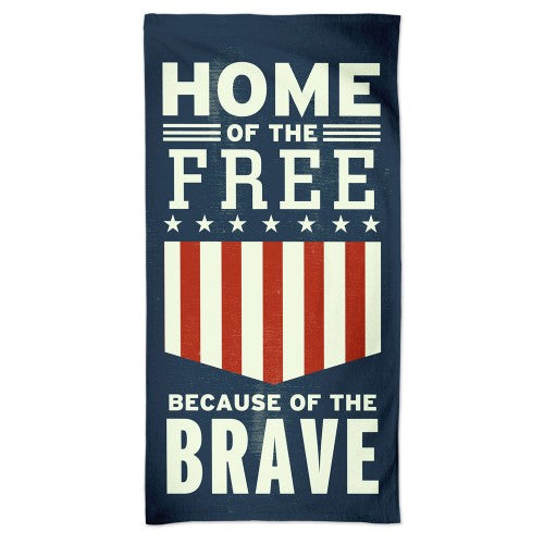 Support America Patriotic Spectra Beach Towel - Home of the Free Land of the Brave