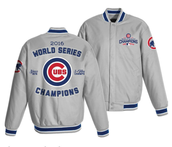Chicago Cubs 2016 World Series Champions MLB Gray Poly-Twill Jacket by JH Design