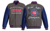 Chicago Cubs 2016 World Series Champions MLB Wool and Faux Leather Reversible Jacket by JH Design