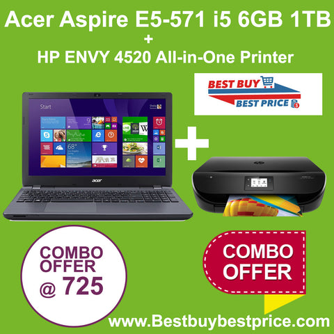 Acer Aspire E5-571 + HP ENVY 4520  Printer - Best Buy Best Price : Shop Online  Electronics , Computers with daily Deals and Promotions