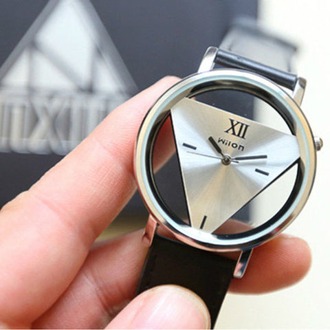 Elegant Stainless Steel Watch (with leather band)