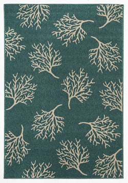 Coral Reef Turquoise Outdoor Rug
