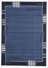 Geometrical Border Rug Blue