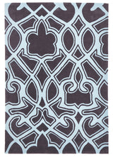 Gothic Tribal Design Rug Smoke Grey and Blue