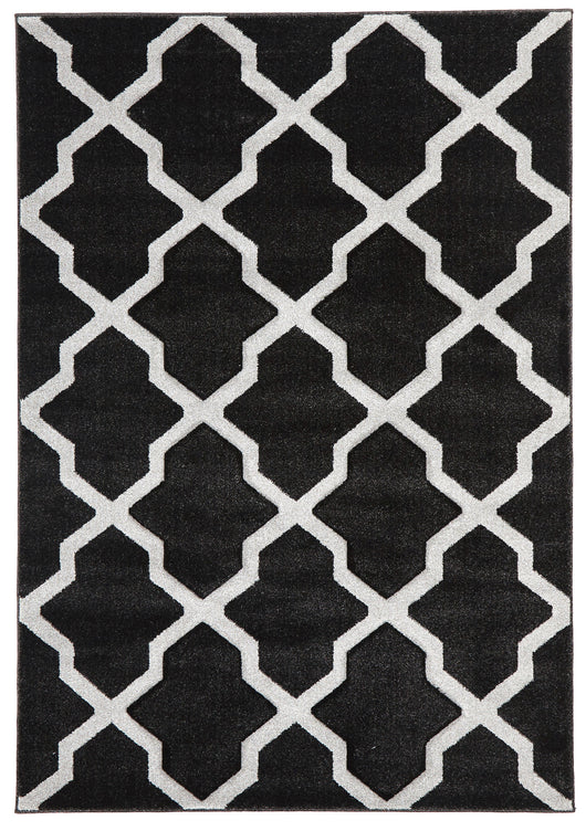 Cross Hatch Modern Rug Charcoal
