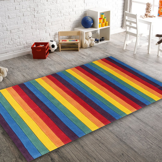 Beautiful Striped Rainbow Kids Rugs