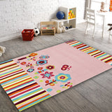 Kids Floral Patterned Pink Rug
