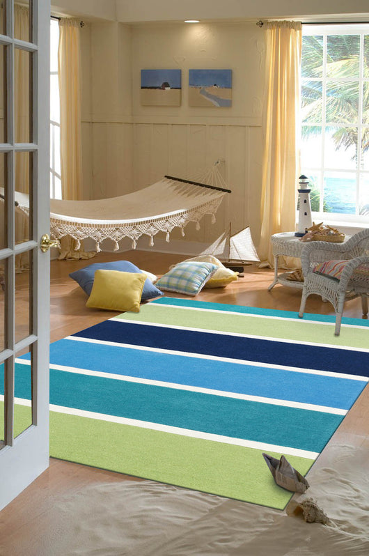 Blue and Green Banded Stripes Rug