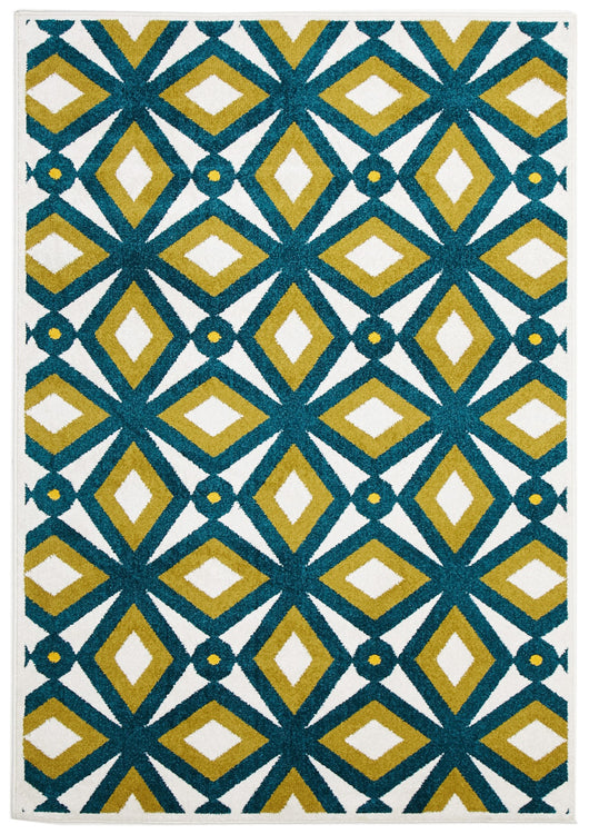 Indoor Outdoor Nadia Rug Blue Citrus