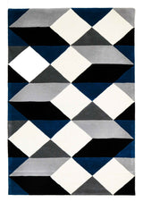 Digital Designer Wool Rug Blue Grey White
