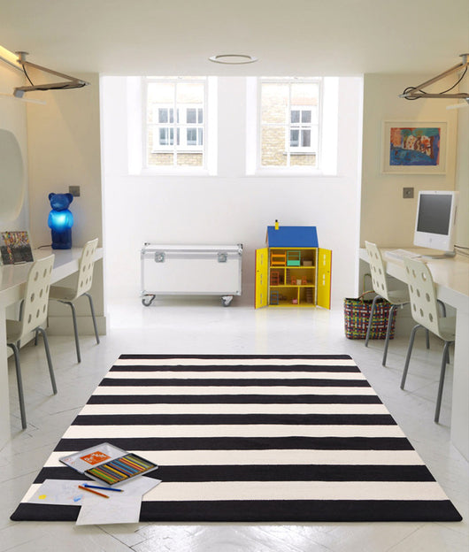Flat Weave Stripe Black White Rug