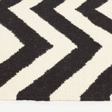Flat Weave Chevron Design Rug Black White