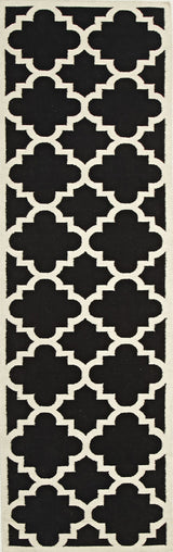 Flat Weave Large Moroccan Design Rug Black