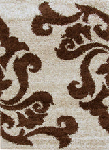 Damask Design Shag Rug Beige Brown