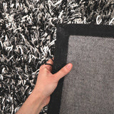 Metallic Thick, Thin Shag Rug Black, Off White