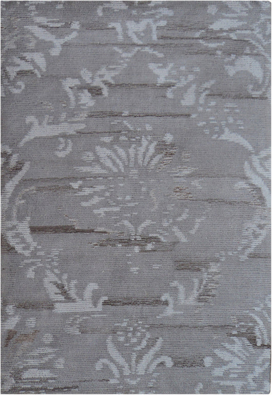 Designer Wool Rug Damask Grey