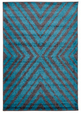 Domino Shag Rug Charcoal and Blue