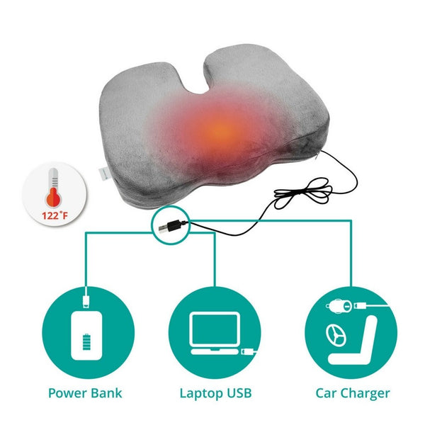 Heat Therapy Coccyx Cushion w/ USB Charger