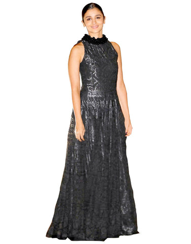 Bollywood Actress Alia Bhatt Black Net Designer Replica Gown