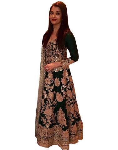 Aishwarya Rai Bachchan Bollywood Green Anarkali Gown