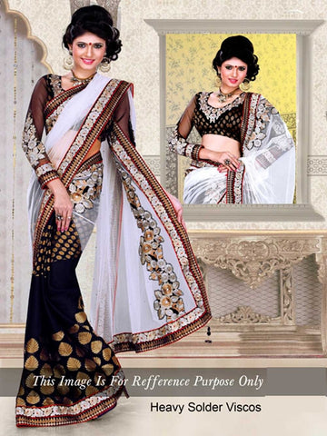 Beautiful Black and White Saree Bollywood Saree
