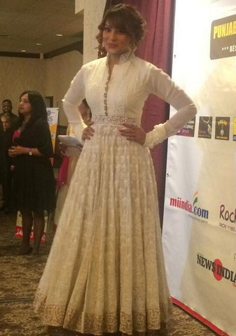 Bipasha Basu Off-White Embellished Bollywood Anarkali Suit