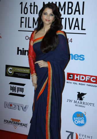 Aishwarya Rai Bachchan In Blue Designer Bollywood Replica Saree