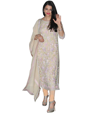 Aishwarya Rai Georgette Beige Semi Stitched Bollywood Replica Designer Suit