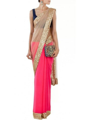 Beige and Pink Half and Half Bollywood Designer Saree
