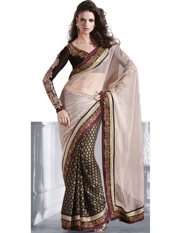 Black Viscose Bollywood Saree With Blouse